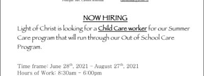 Now Hiring-Child Care Worker for Summer Care